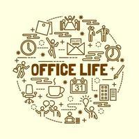 Büroleben minimale dünne Linie Symbole gesetzt vektor