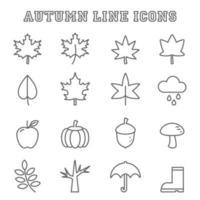 Herbstlinie Symbole vektor