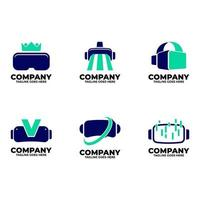 virtuelles Logo mit blauer Farbe vektor