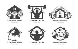 Fitnessstudio zu Hause monochrome Logo-Set vektor