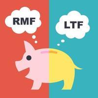 LTF och RMF, långsiktiga fonder vektor finansiella koncept, platt stil