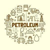 petroleum minimal tunn linje ikoner set vektor