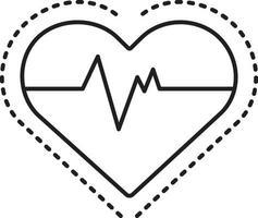 Liniensymbol für Herzfrequenz vektor