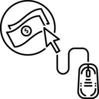 linjeikon för betalning per klick vektor