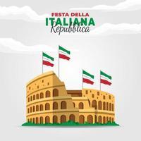 Tag der Republik Italien Poster mit Kolosseum vektor