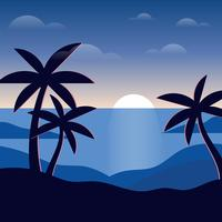 Nachtzeit-Strand-Illustration