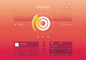 Audio Music Control UI i modernt stiligt i färgstarkt tema. vektor