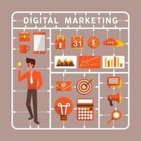 illustrationer för digital marknadsföring vektor