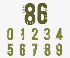 Nummer 0 1 2 3 4 5 6 7 8 9. unvollständiger digitaler Entwurfssatz. Vektorillustration vektor