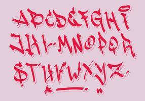 Röd Svart Brev Calligrafisk Graffiti Alfabet Vektor