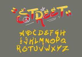 Sprühpinsel-Art-Graffiti-Alphabet-Vektor vektor