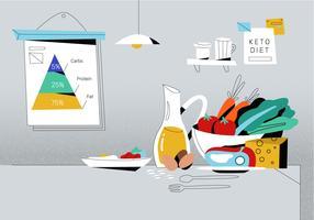 Gesundes Lebensmittel auf Schreibtisch mit ketogenischer Diät-Pyramiden-Plakatvektor Hintergrund-Illustration