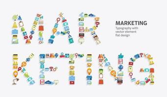 text marknadsföring platt element vektor