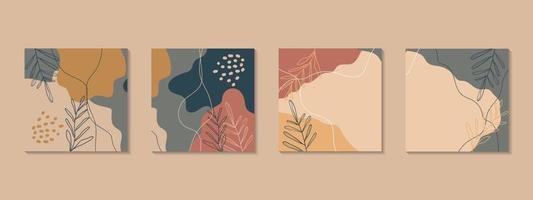 vacker pastellfärgad social media banner mall med minimal abstrakt organisk formkomposition i trendig samtida collagestil vektor
