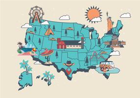 United States Landmärke Karta Vol2 Vector
