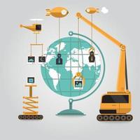Aufbau einer sozialen Netzwerkwelt vektor