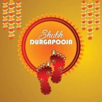 Vektor Fußabdruck der Göttin Durga für Shubh Navratri