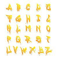 platt graffiti alfabet samling vektor