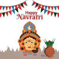 lycklig navratri indisk festival gratulationskort, navratri platt designkoncept vektor