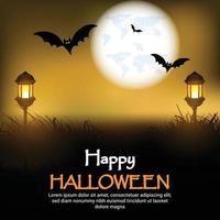 lycklig halloween skräckbakgrund med nattscen och glödande pumpa vektor