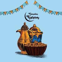 Handzeichnung Illustration des Ramadan Kareem Hintergrund vektor
