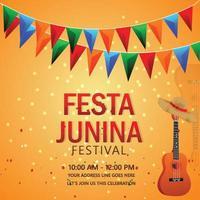 festa junina inbjudningskort med gitarr och hatt vektor