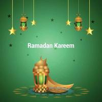 ramadan kareem gyllene månen och gyllene lyktan vektor