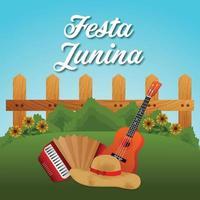 festa junina inbjudningskort med gitarr och papperslykta på vit bakgrund vektor