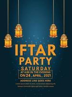 iftar party flyer eller gratulationskort inbjudan bakgrund med kreativa lykta vektor