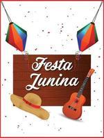 festa junina vektorillustration med gitarr, färgglad festflagga och papperslykta vektor