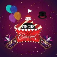 brasilianischer Ereignishintergrund des Karnevals mit Zirkuszelt mit Maske vektor