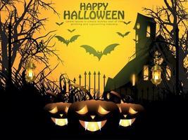 Halloween-Nachthintergrund mit leuchtendem Kürbis, Spukhaus und Fledermäusen. vektor