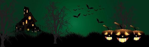 glücklicher Halloween-Nachtpartyhintergrund mit kreativem leuchtendem Kürbis auf Horrorhintergrund vektor
