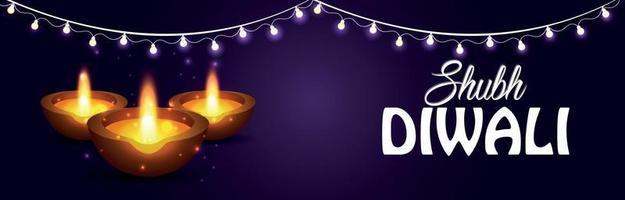 glad diwali firande banner eller rubrik med ljus och diwali olja diya på lila bakgrund vektor