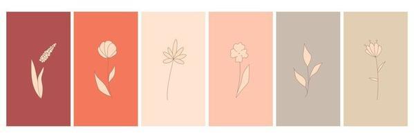 abstrakte Elemente, minimalistische einfache florale Elemente. Blätter und Blüten. Sammlung von Kunstplakaten in Pastellfarben. Design für soziale Netzwerke, Postkarten, Drucke. Umriss, Linie, Doodle-Stil. vektor