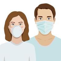 Männer und Frauen tragen medizinische Gesichtsmasken, um Krankheiten, Grippe und Luftverschmutzung vorzubeugen. vektor
