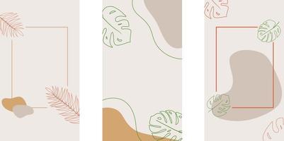 Social-Media-Storys und Post-Vorlage im Hintergrund mit minimalem Stil und Kopierraum für Text. abstrakte farbige Formen, Strichzeichnungen, Blätter, beige Farben, Rahmen für Text. vektor