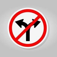 verbieten Gabelstraße nicht rechts oder links abbiegen Verkehrssymbol Zeichen isolieren auf weißem Hintergrund, Vektor-Illustration vektor