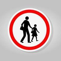 Schulverkehr Straßenschild isolieren auf weißem Hintergrund, Vektor-Illustration vektor