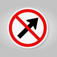 verbieten gehen nach rechts durch den Pfeil Verkehr Straßensymbol Zeichen isolieren auf weißem Hintergrund, Vektor-Illustration vektor