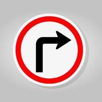 Biegen Sie rechts ab Verkehrsstraßenschild isolieren auf weißem Hintergrund, Vektorillustration vektor