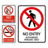 Setzen Sie das Schild mit der Aufschrift Nichtraucher, kein Fischen, keine Einreiseberechtigten vektor