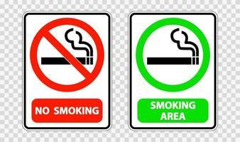 Nichtraucher und Raucherbereich Zeichenetikett auf transparentem Hintergrund vektor