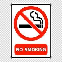 Rauchverbotsschildetikett auf transparentem Hintergrund vektor