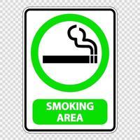 Zeichenschild des Raucherbereichs auf transparentem Hintergrund vektor
