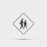 Schulkreuzungszeichen auf transparentem Hintergrund vektor