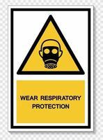 Tragen Sie Atemschutzsymbol Zeichen Isolat auf weißem Hintergrund, Vektor-Illustration eps.10 vektor