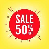 50 procent av försäljningsetiketten. försäljning av specialerbjudanden. rabatt med priset är 50 procent. vektor