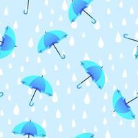 blauer Regenschirm und Regen kritzeln handgezeichnetes nahtloses Muster. vektor