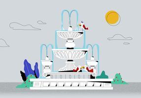 Klassische weiße römische Brunnen-Vektor-flache Hintergrund-Illustration vektor
